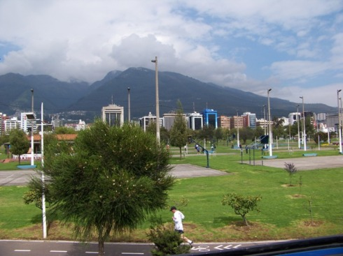 Parque La Carolina in Quito looking west.