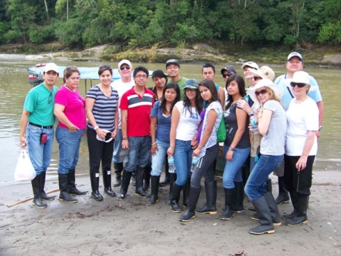 Our group, poised and ready, for our river trip and jungle trek.