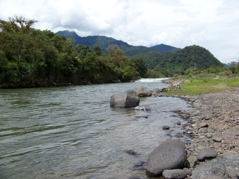 Rio Quijos as it flows through the mountain jungle near Chaco.