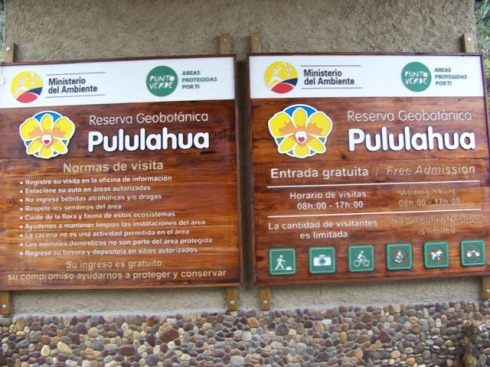 Pululahua Geobotanical Reserve sign.