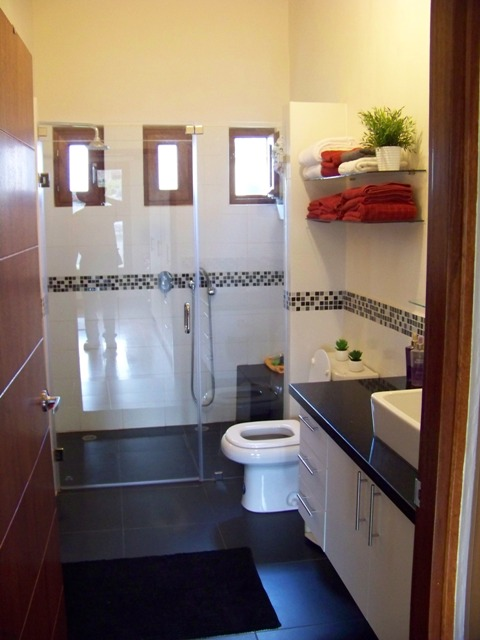 master bathroom with sit down shower